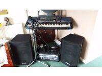Keyboard, Speakers, Amplifier, Microphones