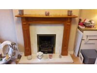 Gas Fire, Marble surround and wood fireplace. Collection Only.