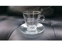 8x New in box clear coffee glasses with saucers