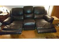 Sofa - leather - 3 seater double recliner