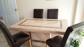 MARBLE TABLE & 4 HIGH BACK CHAIRS