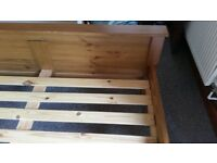 Double pine bed, great condition.