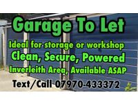 GARAGE/WORKSHOP FOR RENT, CLEAN, SECURE AREA, ELECTRIC SUPPLIED, IDEAL FOR STORAGE/SMALL WORKSHOP.