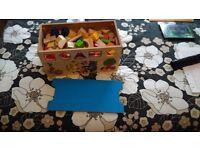 Wood box and bricks