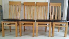 4 Oak Wooden brown leather seat high back dining chairs - good condition