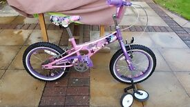 "Girls Surf Bike 16"" with stabilisers."