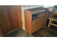 Wood tv unit with storage