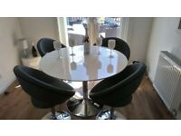 Large White Gloss Dining Table & 4 Dining Chairs