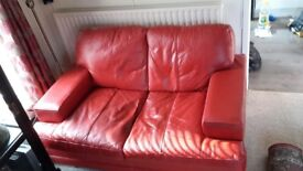 2 Seat Red Leather Sofa Settee