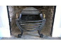 Georgian style cast iron fire basket with solid fuel grate