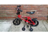 "Urban Racer Boys Bike Red 12"" with detachable stabilisers"