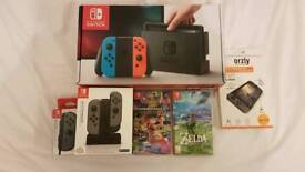 ★BOXED★ Nintendo Switch (Red/Blue Neon) + Zelda + Mario Kart + Grey Joy Con + MORE