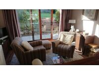 Lovely Next swivel chairs and footstool