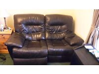 Recliner Sofa - two seater black/brown leather electric recliner - mint condition