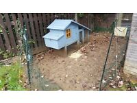 Chicken coop for 4 small chickens or 3 larger chickens and 12 metre Omlet fencing