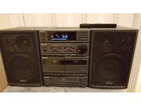 Mini HiFi System. Sony, CD, 2 x Cassette, Radio & Aux player with Equilizer. For Charity