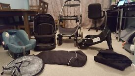 Baby stuff - Graco travel system, moses basket, Bumbo, baby bath, play ring, bath seat, rocker