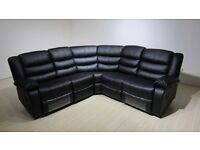 Roma Corner Black or Brown Leather Recliner Cupholder Sofa Band New Boxed Free Delivery & Home Setup