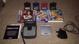 Game Boy Advance & GBA SP consoles + 8 Games, case, charger etc. Working!