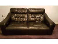 Black leather 3 seater and 2 seater electric recliner sofas - great condition