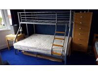 Triple bunk bed metal frame, one double and one single bed