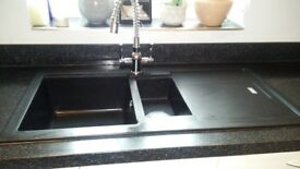 Black 1.5 Kitchen Sink with drainer