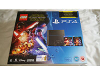 Brand new and unopened PS4 Lego Star Wars The Force Awakens Bundle with Game & Blu-Ray Film.