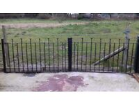 Galvanised gates painted black with ball tops 132inch wide x 34 inch high £230 ONO