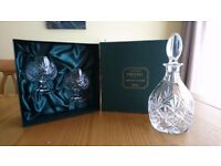 Crystal brandy glasses and decanter