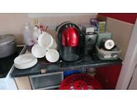 Espresso machine with milk wand and coffee grinder
