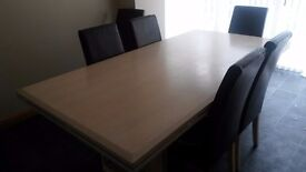7ft solid beech dining table with 6 chairs