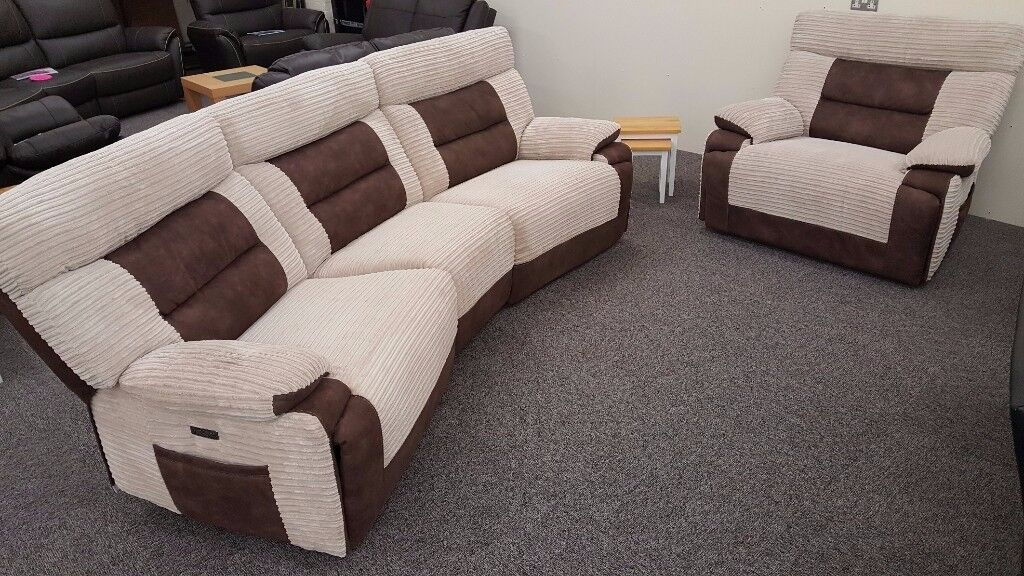 SCS NelsonBrown 4 Seater & Armchair Electric Recliner Free Delivery Nottm Derby View Hucknall Nottm