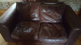 2 Quality Dark brown leather sofas