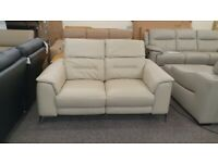 Sanza 2 Seater Light Grey Leather Electric Recliner Sofa With Adjustable Headrest Can Deliver
