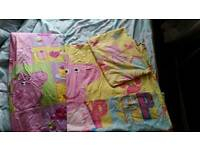 Peppa pig curtains and bed cover.