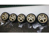 "Advan TC2 Alloys 18"" x 7.5 Set of 5 (one unused) 5 x 100 PCD. Michelin Pilot Sport tyres"
