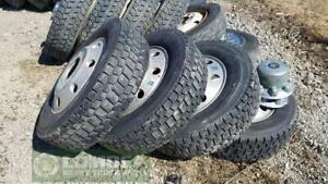 225/701R19.5 Used Truck Tires and Rims, 90% Thread
