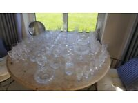 Large collection of crystal glasses