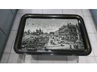Mid 1900s Worcester ware black & white table tray with London scene