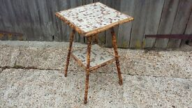 Vintage Bamboo Occasional Table With Tile Top Mosaic
