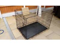 LARGE BLACK METAL DOG CRATE GOOD CONDITION FREE LOCAL DELIVERY