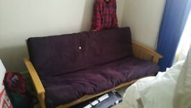 Sofabed - sturdy, wooden, 3-4 seater/ double
