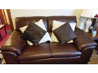 Brown leather sofas for sale, nearly new