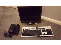 Computer Screen, Keyboard, & Speakers