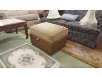 Tan Leather & Fabric Footstool With Storage