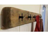 Handmade coats/towels hanger solid wood and steel