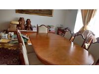 8 seater Extendable Oak Dining Table and 8 Chairs