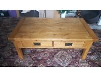 Solid Oak 4 drawer coffee table