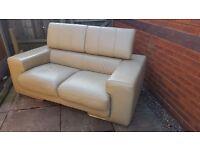 modern cream leather large 2 seater settee