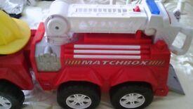 Vintage Push along Matchbox Large Fire Engine big enough to sit on